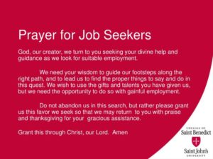 Prayer For Job Seekers