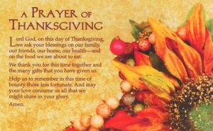 Prayer Of Thanks For Our Dinner