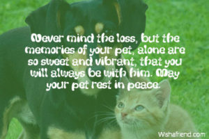 Prayer For Loss Of A Pet