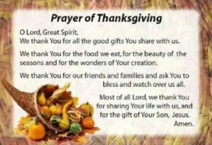 Prayer For The Thanksgiving Holiday
