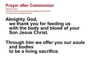 Prayer After Receiving Communion