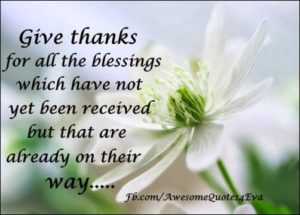Thanks For Blessings Received
