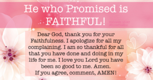 Thank You For Your Eternal Faithfulness to Me
