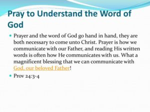Prayer To Understand The Word Of God