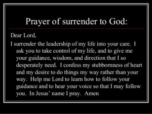 Prayer To Let God Control My Life