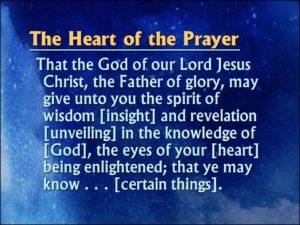 Prayer For The Spirit Of Wisdom And Revelation