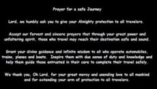 Prayer For Safely and Protection On Our Journey