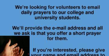 Prayer For Volunteers to GO…