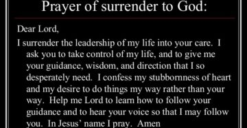 Prayer To Let God Control My Life